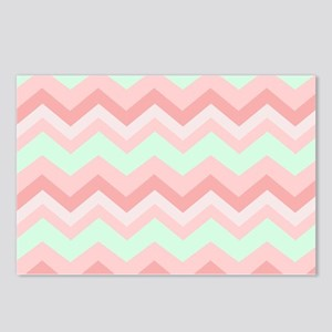 mint pink chevron Postcards (Package of 8)