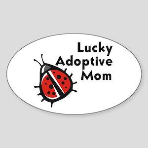 Lucky Adoptive Mom Oval Sticker