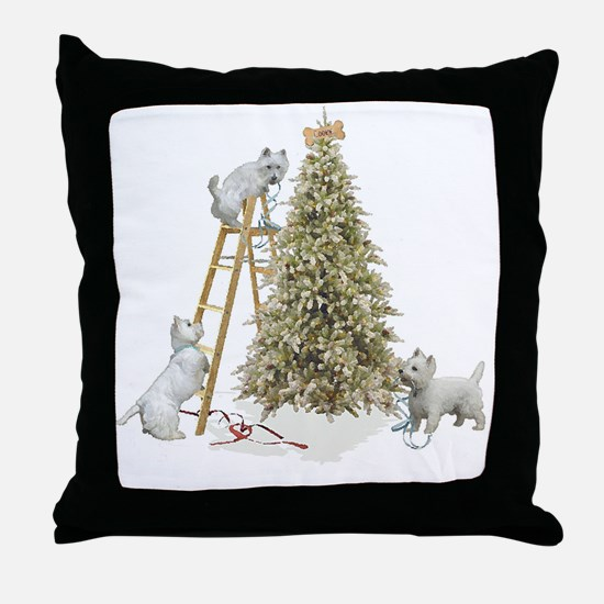 Westie Christmas Throw Pillow