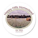 Happy Hills Homestead Logo Round Car Magnet