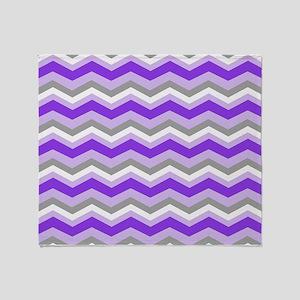 purple gray chevron Throw Blanket