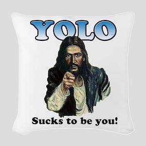 YOLO Jesus Woven Throw Pillow