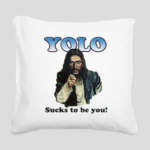 YOLO Jesus Square Canvas Pillow