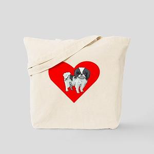 Japanese Chin Heart Tote Bag
