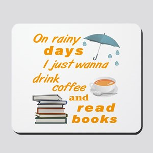 Rain Coffee Books Mousepad
