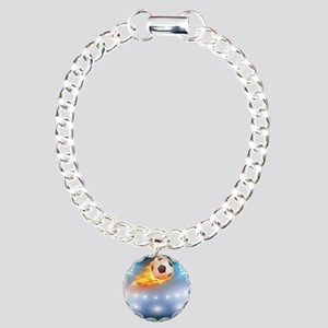 Flaming Ball Over Stadium Charm Bracelet, One Char