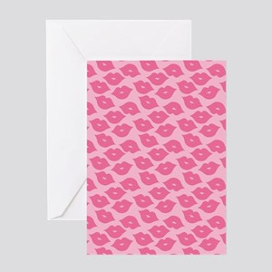 Girly Pink Lips Greeting Cards