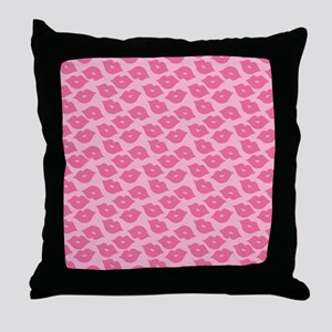 Girly Pink Lips Throw Pillow