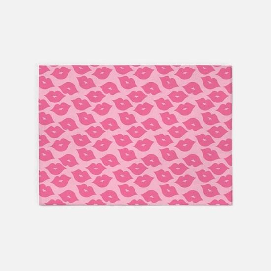 Girly Pink Lips 5'x7'Area Rug