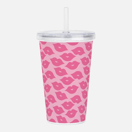 Girly Pink Lips Acrylic Double-wall Tumbler