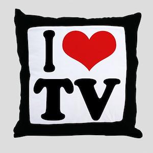 I Love TV Throw Pillow