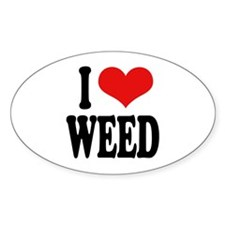 I Love Weed Oval Sticker
