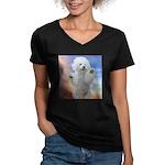 Happy Dog Women's V-Neck Dark T-Shirt