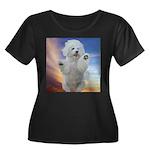 Happy Dog Women's Plus Size Scoop Neck Dark T-Shir