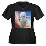 Happy Dog Women's Plus Size V-Neck Dark T-Shirt