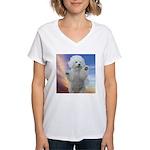 Happy Dog Women's V-Neck T-Shirt