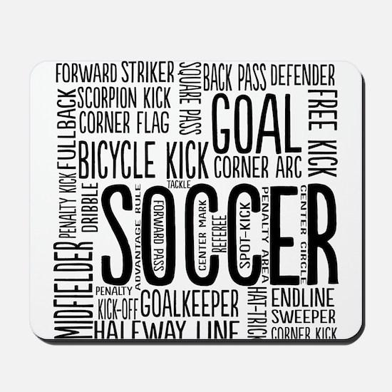 Soccer Word Cloud Mousepad