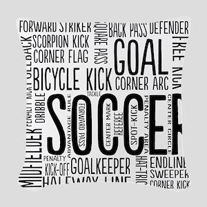 Soccer Word Cloud Woven Throw Pillow