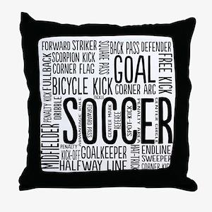 Soccer Word Cloud Throw Pillow