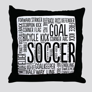 Soccer Word Cloud Throw Pillow