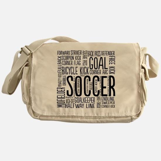Soccer Word Cloud Messenger Bag