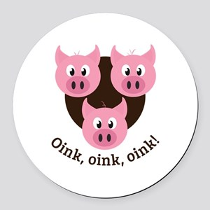 Oink,Oink,Oink! Round Car Magnet