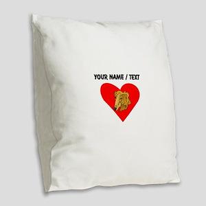 Custom Goldendoodle Heart Burlap Throw Pillow