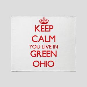 Keep calm you live in Green Ohio Throw Blanket