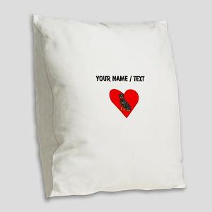 Custom Rottweiler Heart Burlap Throw Pillow
