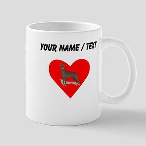 Custom Doberman Heart Mugs