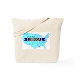 True Blue LIBERAL USA Map Tote Bag