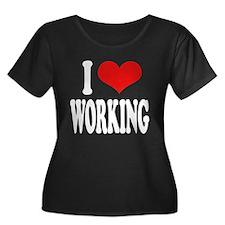 I Love Working Women's Plus Size Scoop Neck Dark T