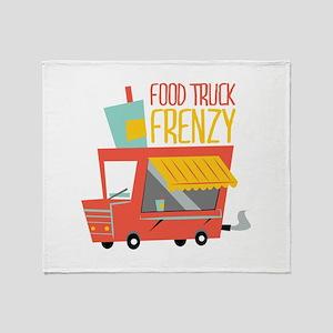 Food Truck Frenzy Throw Blanket