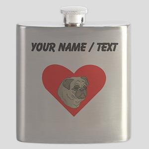 Custom Pug Heart Flask