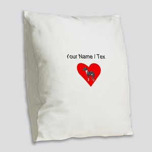 Custom Italian Greyhound Heart Burlap Throw Pillow