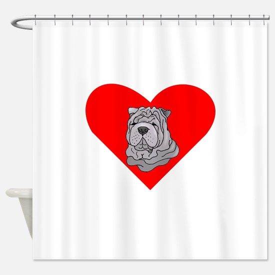 Shar Pei Heart Shower Curtain