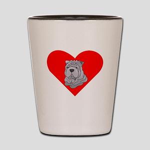Shar Pei Heart Shot Glass