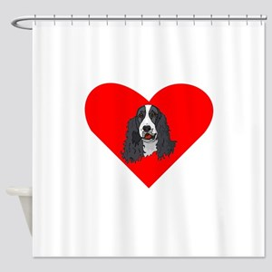 English Springer Spaniel Heart Shower Curtain