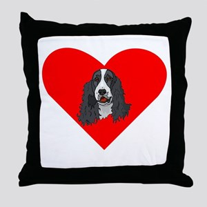 English Springer Spaniel Heart Throw Pillow