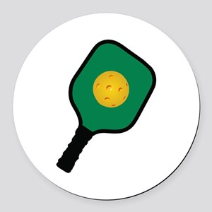 PICKLEBALL AND PADDLE Round Car Magnet