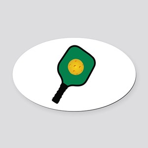 PICKLEBALL AND PADDLE Oval Car Magnet