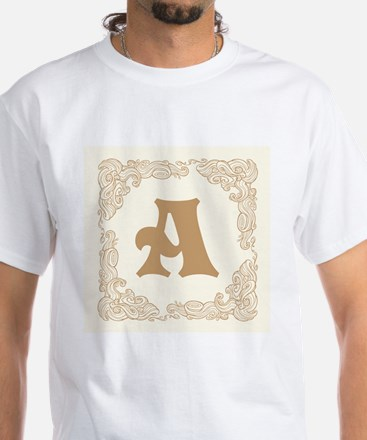White Personalized Monogram Initial T-Shirt
