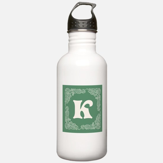 Green Personalized Monogram Initial Water Bottle