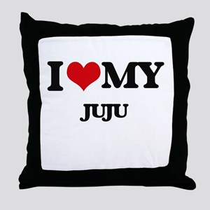 I Love My JUJU Throw Pillow