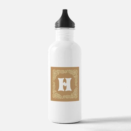 Beige Personalized Monogram Initial Water Bottle