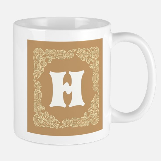 Beige Personalized Monogram Initial Mugs
