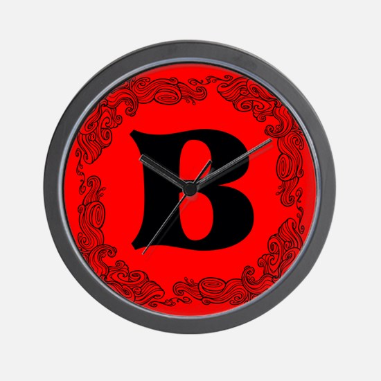 Red Personalized Monogram Initial Wall Clock