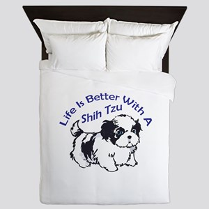 BETTER WITH SHIH TZU Queen Duvet