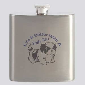 BETTER WITH SHIH TZU Flask