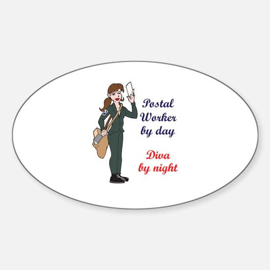 POSTAL WORKER BY DAY Decal